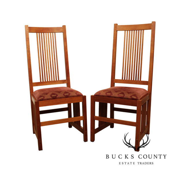 Stickley Mission Collection Cherry Pair Spindle Dining Chairs