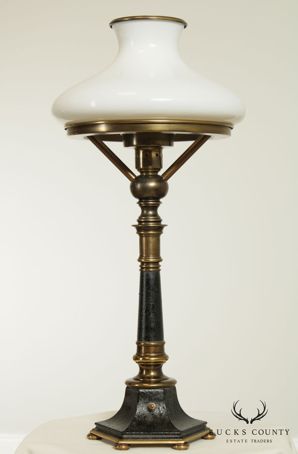 Stiffel Vintage Brass and Black Lacquered Table Lamp/White Glass Shade