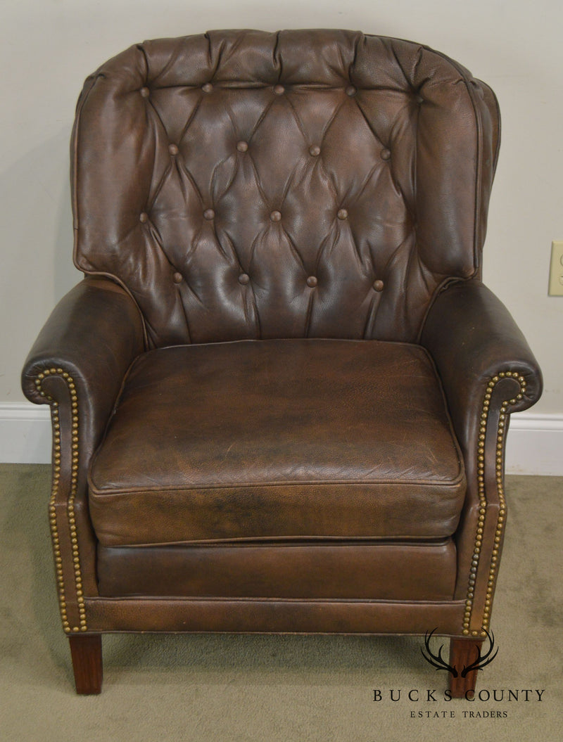 Brown Leather Tufted Regency Style Club Chair W/ Ottoman by Phillips