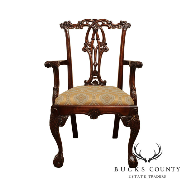 Chippendale Style Ball & Claw Carved Solid Mahogany Armchair