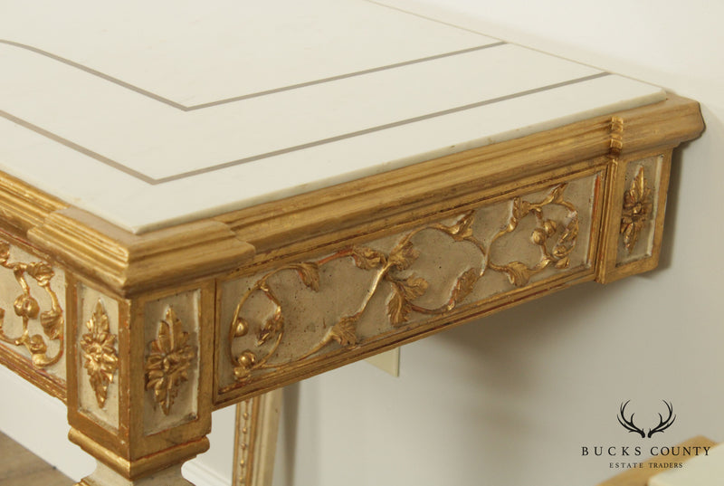 Florentine Pair Gilt Wood and Lacquered Vintage Pair Marble Top Consoles