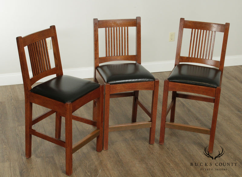 Stickley Mission Collection Oak Set 3 Spindle Counter Bar Stools