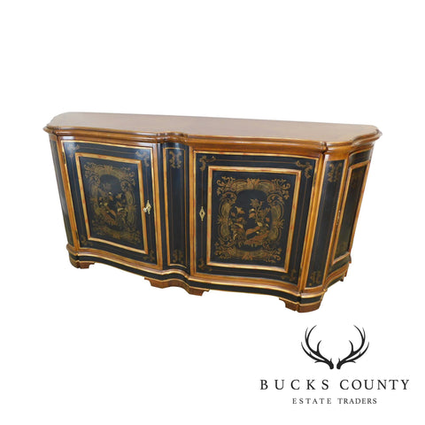 Drexel Heritage Grand Tour IV Paint Decorated Cherry Serpentine Buffet Sideboard