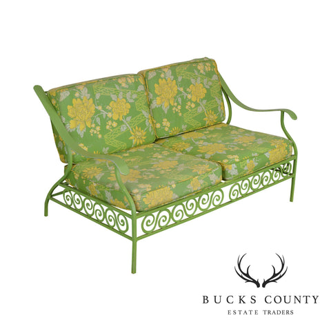 Hollywood Regency Mid Century Lime Green Cast Aluminum Patio Settee