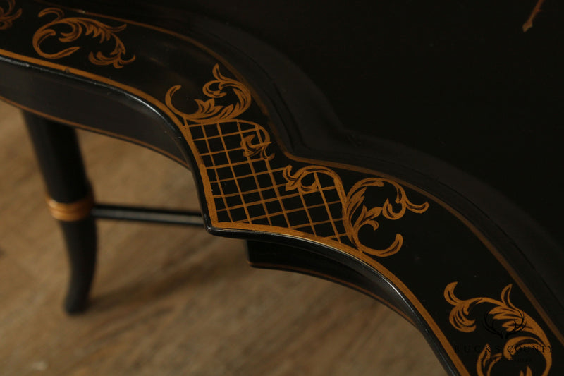 Maitland Smith Ebonized Black & Gold Faux Bamboo Floral Hand Painted Scalloped Tray Top Coffee Table