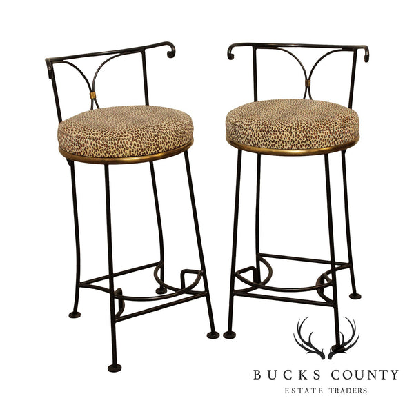 Hollywood Regency Directoire Style Pair Iron & Brass Leopard Print Counter Bar Stools