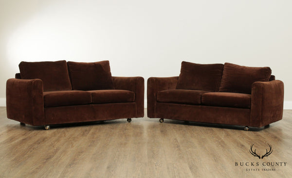 Mid Century Modern Brown Upholstered Pair Cube Loveseats