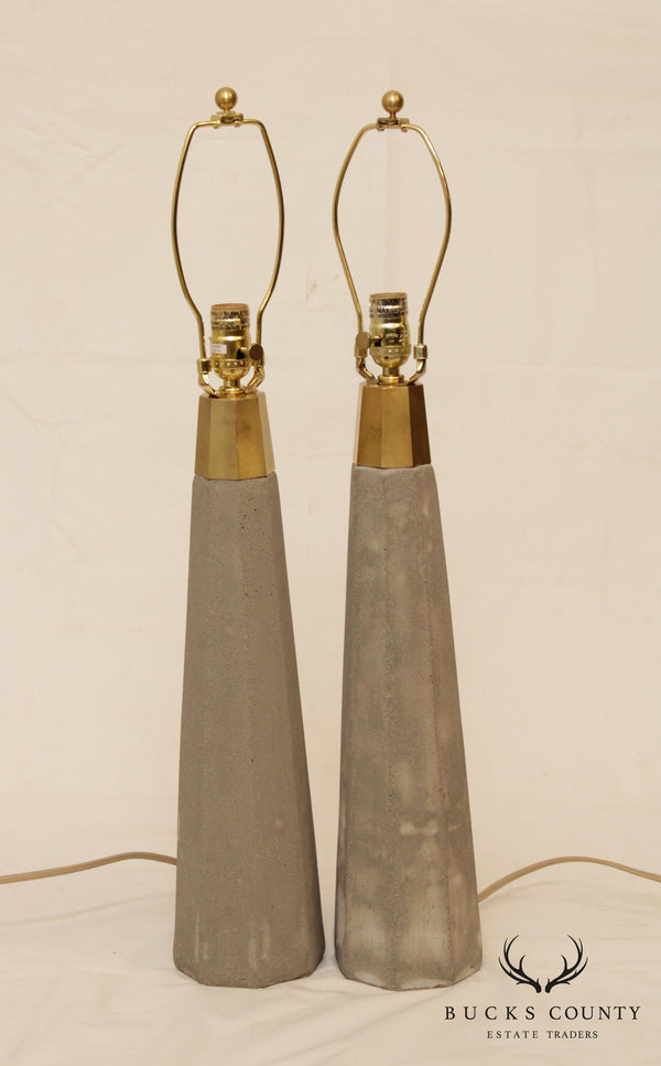 Cast Stone & Brass Modern Pair Table Lamps