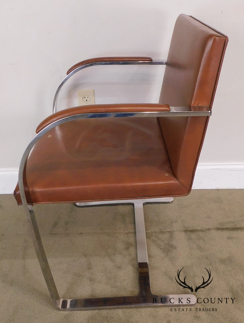 Knoll Mies Van Der Rohe Mid Century Chrome & Leather Brno Arm Chair