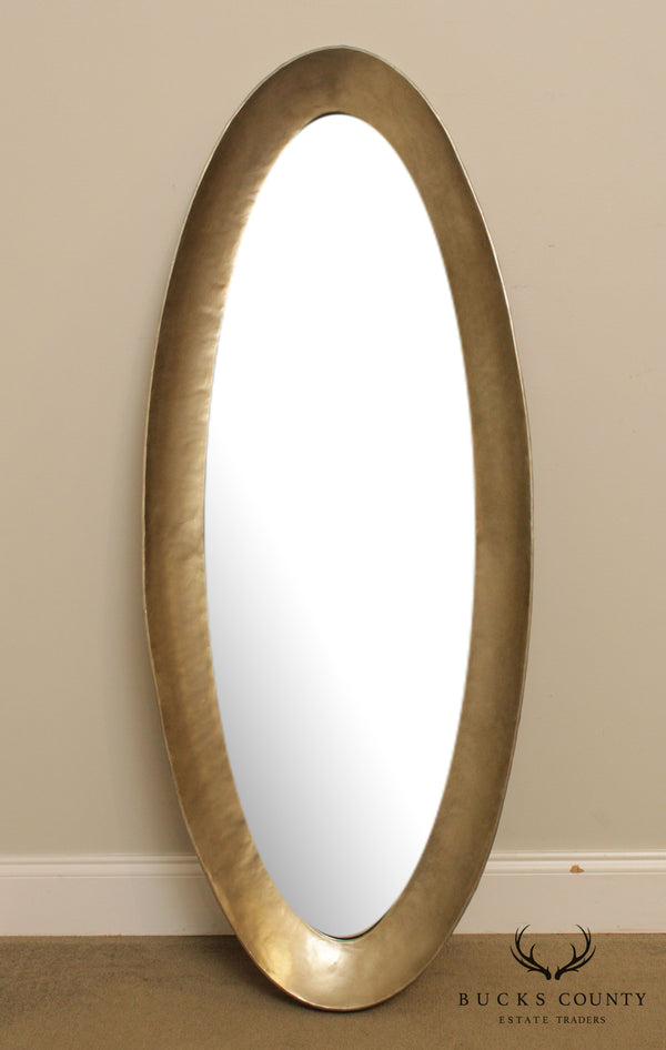 Modern Oval Metal Wrapped Beveled Wall Mirror