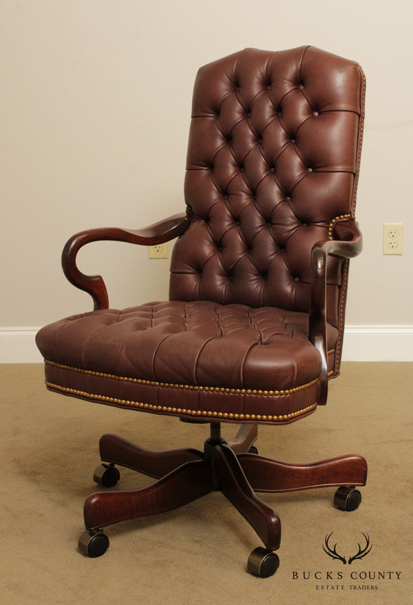 Laurent Tufted Leather Swivel Desk Chair