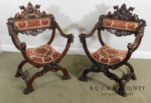 Italian Renaissance Antique Carved Walnut Pair Savonarola Armchairs