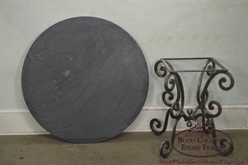 Hand Forged Steel Base Round Slate Top Dining Table