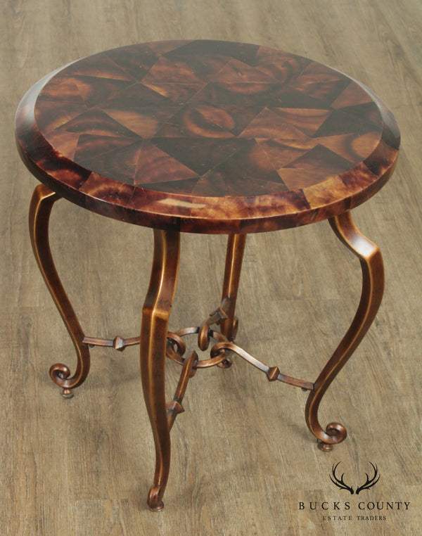 Regency Style Round Faux Tessellated Horn Iron Base Side Table