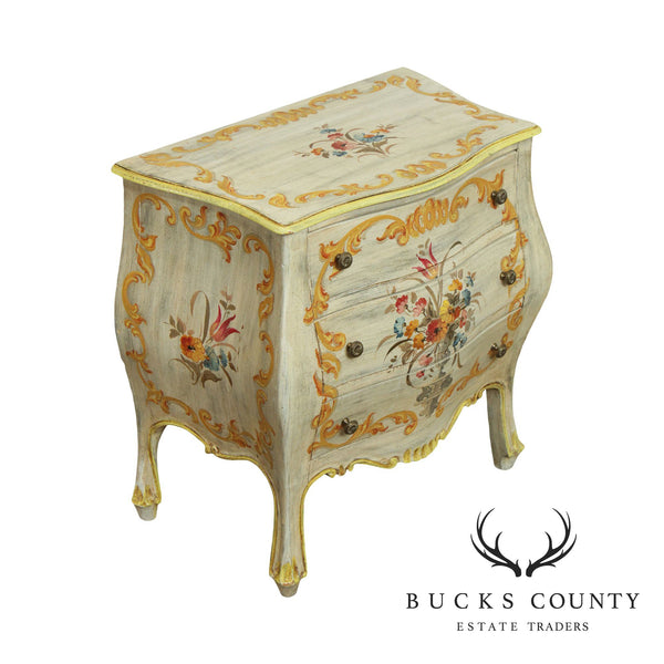 Venetian Style Vintage Italian Hand Painted Bombe Commode Chest, Nightstand