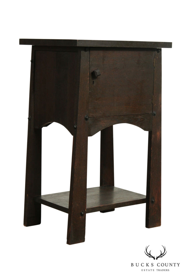 H. T. Cushman Antique Arts & Crafts Oak Smoking Stand