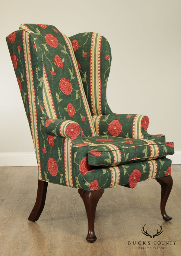 Queen Anne Style Custom Mahogany High Back Wing Chair