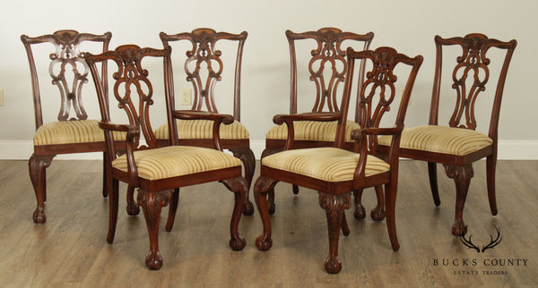 Ethan Allen Chippendale Style Solid Mahogany Set 6 Chauncey Dining Chairs