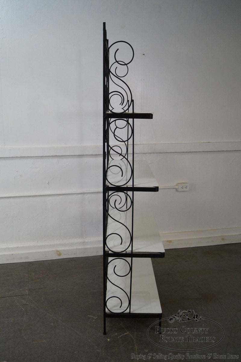 Vintage Wrought Iron Bakers Rack w/ White Milk Glass Shelves