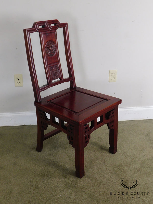 Asian Rosewood Vintage Carved Side Chair
