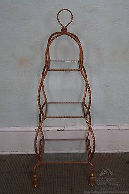 Hollywood Regency Italian Gilt Metal Rope & Tassel Etagere Display Shelf
