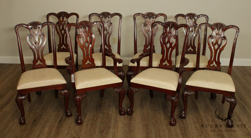 Maitland Smith Chippendale Style Set 8 Solid Mahogany Ball & Claw Dining Chairs