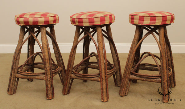 La Lune Collection Rustic Set 3 Counter Height Bar Stools