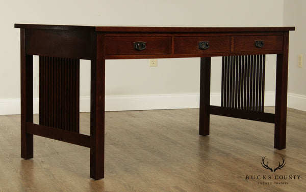 "Stickley Mission Collection Oak 60"" Spindle Library Desk"