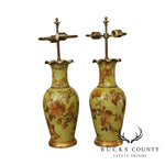 Pair Decoupaged Table Lamps Fluted Rims, Gilt Trim