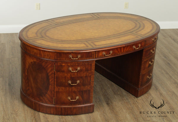 Maitland Smith Mahogany Leather Top Oval Partners Desk