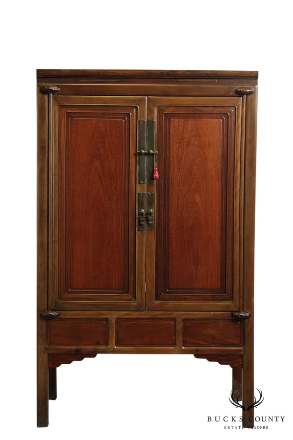 Quality Vintage Asian Hardwood 2 Door Cabinet