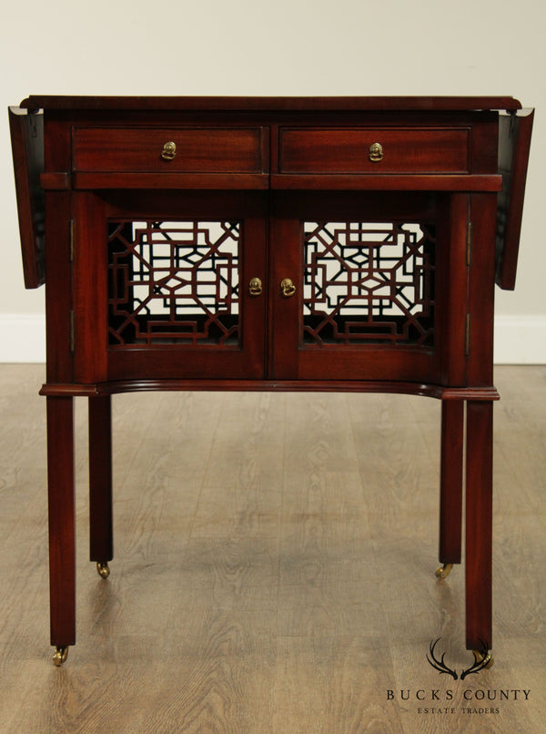 Chinese Chippendale Style Mahogany Drop Leaf Pembroke Table