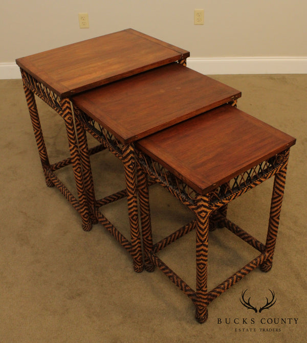 Vintage Indian Hard Wood, and Wicker Nesting Side Tables