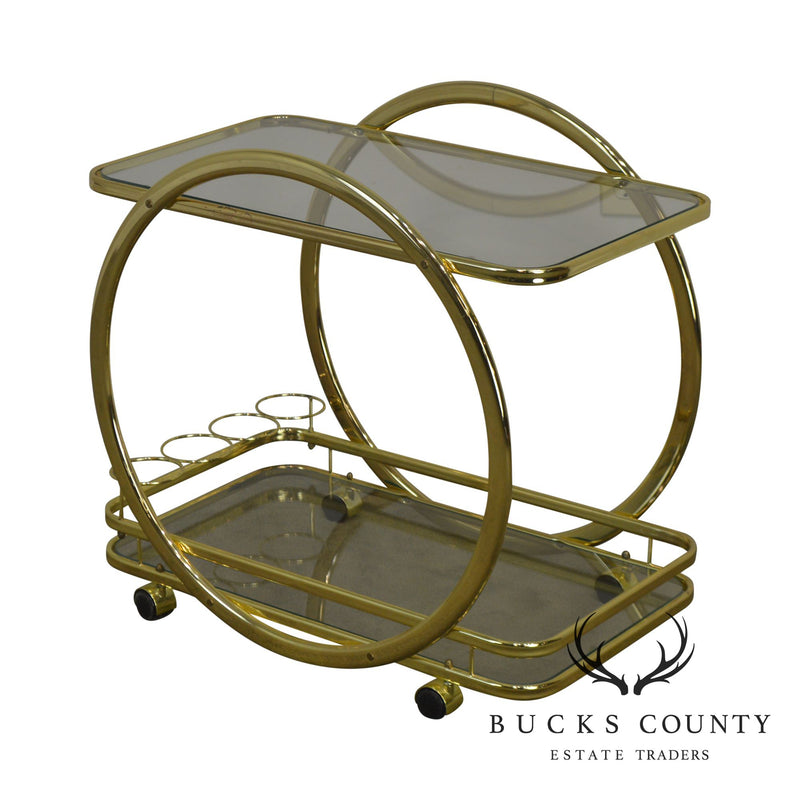 Milo Baughman Style Brass & Glass serving Bar Cart