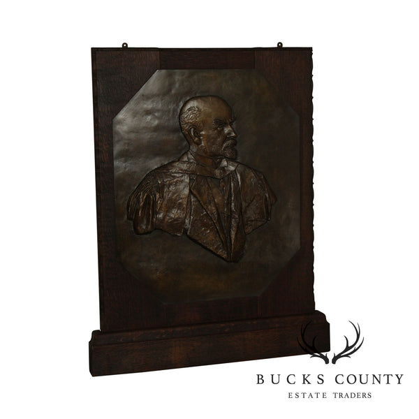 Alice Meredith Williams Large Framed Oak Bronze Relief Sculpture of Stalin