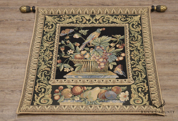 French Country Style Handmade Tapestry, Fruit Basket Birds and Butterflies