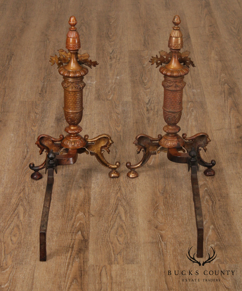 French Louis XVI Style Antique Pair Brass Andirons