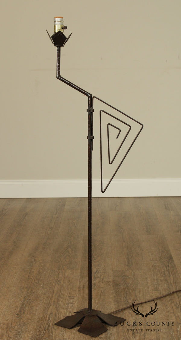 Beardsley Studios Chicago Art Deco Wrought Iron Floor Lamp