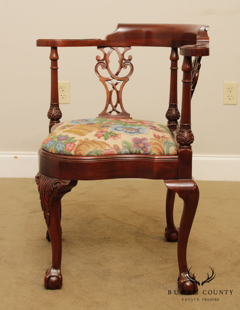 Southwood Mahogany Ball & Claw Chippendale Style Corner Chair