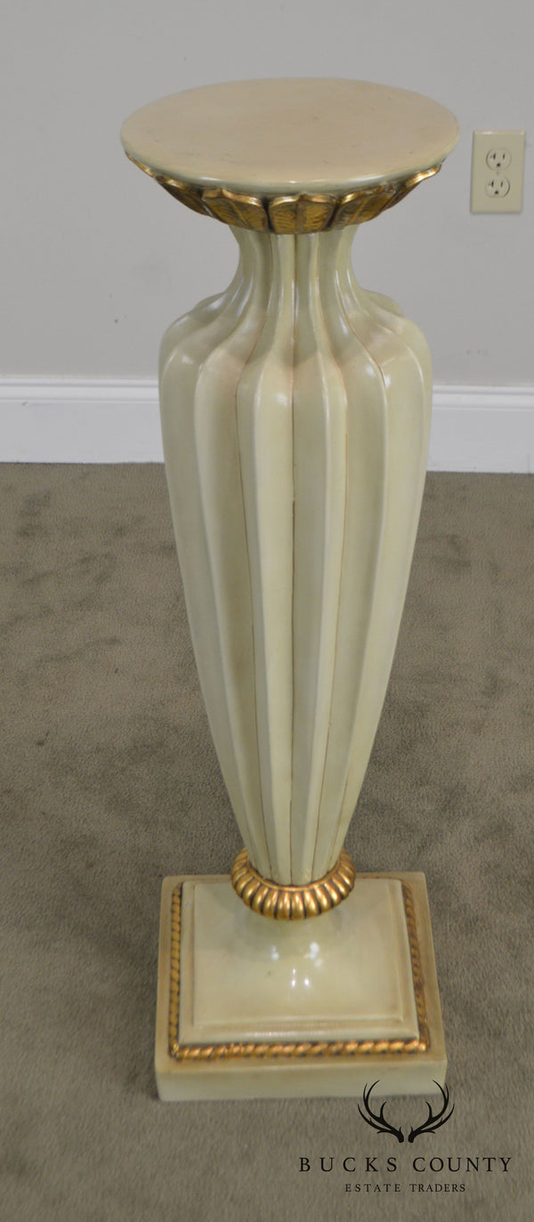 French Louis XVI Style Partial Gilt Fluted Pedestal