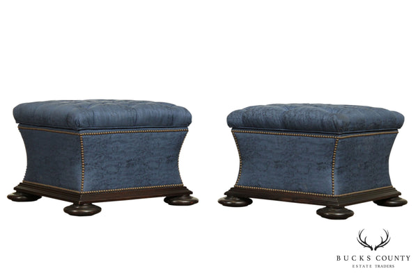 Regency Style Large Pair Custom Tufted Upholstered Storage Ottomans