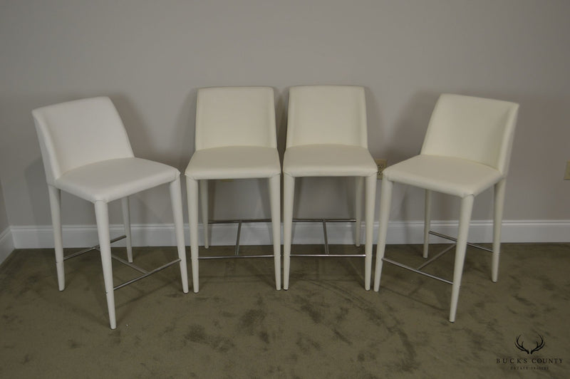 Safavieh Set 4 Mid Century Modern Style White Leather Counter Stools