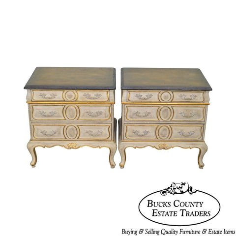 Auffray & Co. Vintage Pair French Louis XV Style Painted Chests Nightstands