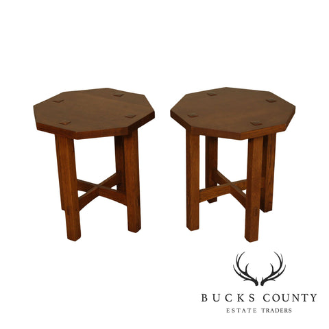 Stickley Mission Collection Oak Pair Octagonal Taborets, Side Tables