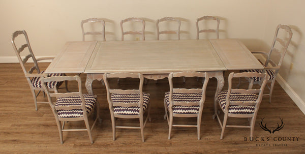 French Country Style Custom Grey Washed Oak Dining Set, Table & 10 Chairs