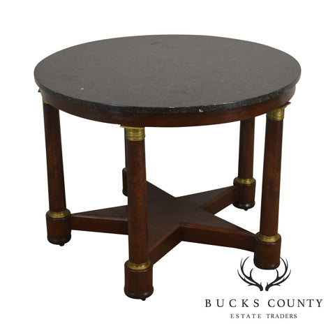 19th Century Empire Period Mahogany Star Base Round Marble Top Center Table