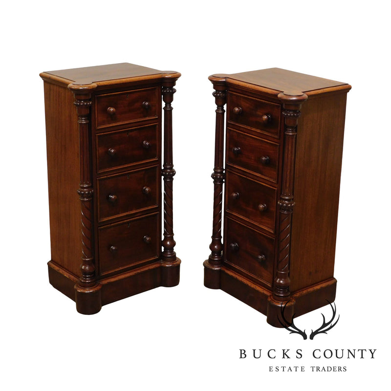 Antique Pair of Mahogany English Victorian 4 Drawer Bedside Chests