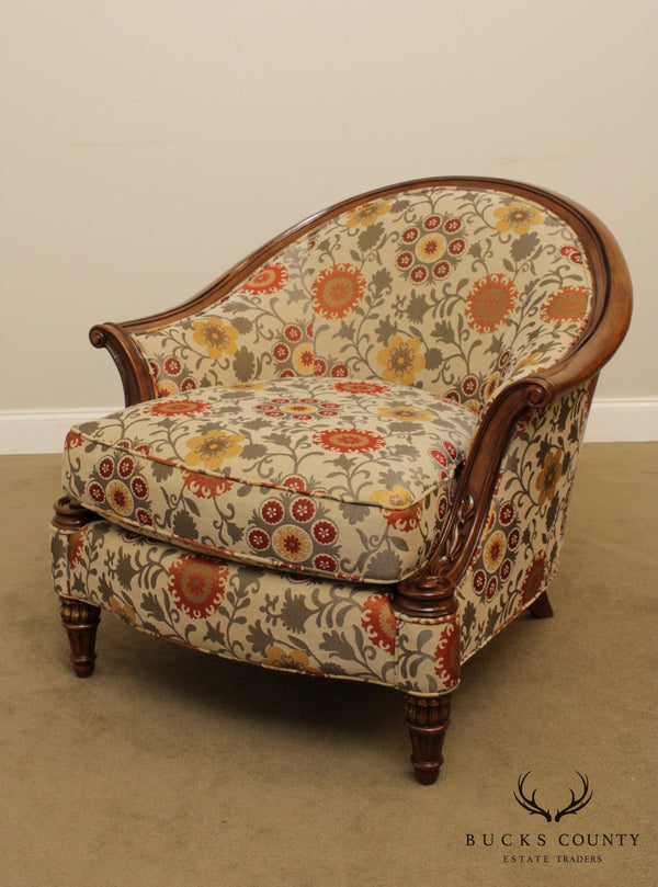 French Louis XVI Style Custom Upholstered Lounge Chair Bergere