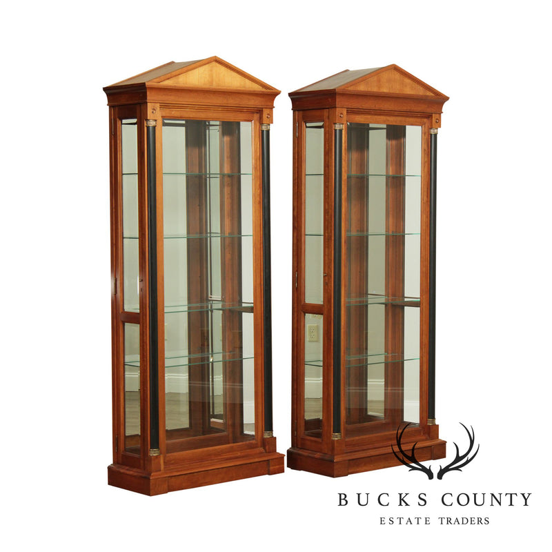Ethan Allen Medallion Collection Pair Biedermeier Empire Style Curio Display Cabinets