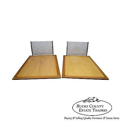 Unusual Pair of Custom Mid Century Modern Wrought Iron Cherry Wood Beds